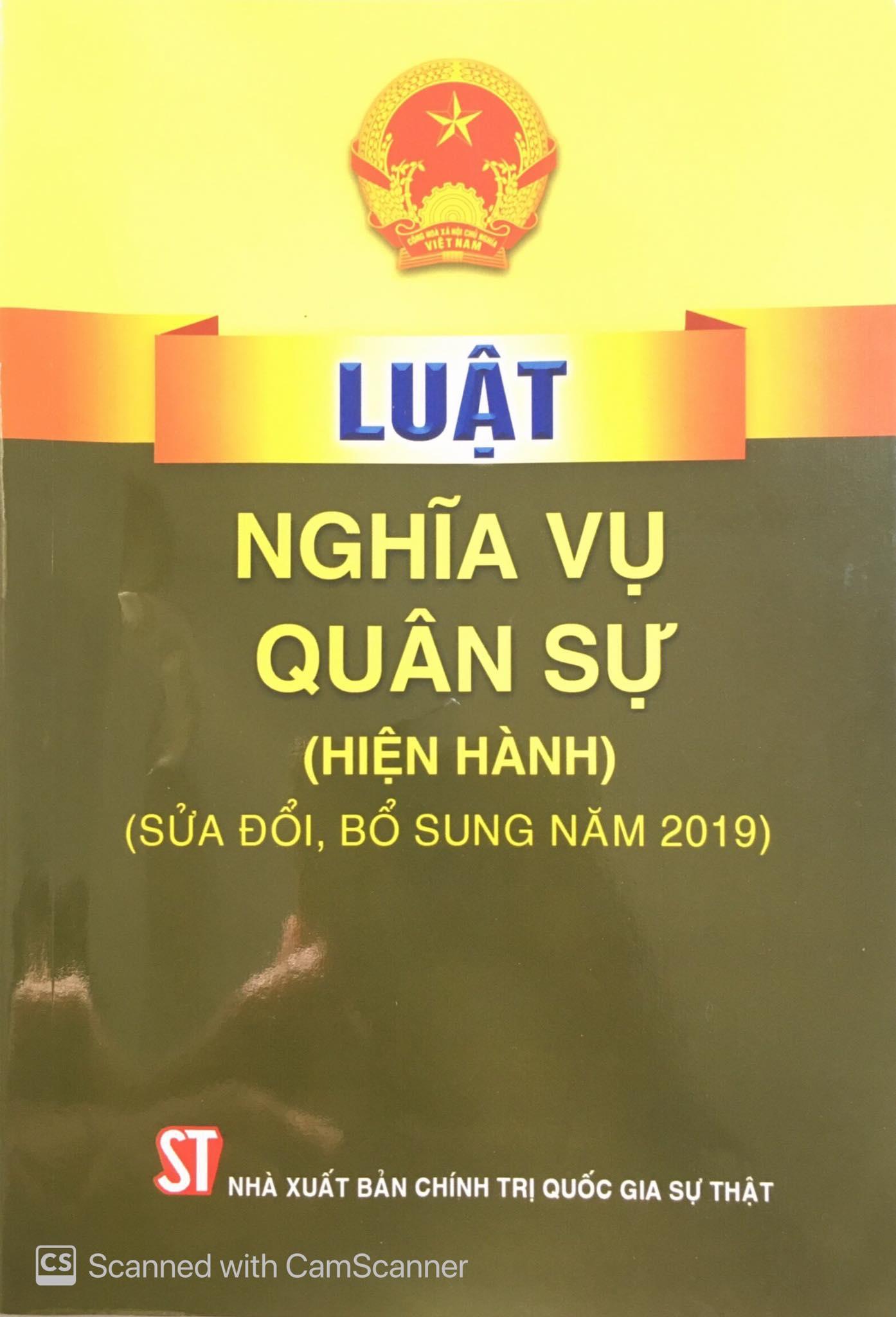 Luật Nghĩa vụ quân sự (hiện hành) (sửa đổi, bổ sung năm 2019)
